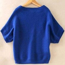 Las estaciones una palabra Collar suéter de cachemira nuevas mujeres  sueltas grandes yardas batwing camisa era delgado manga cor. 43414ed8ab60