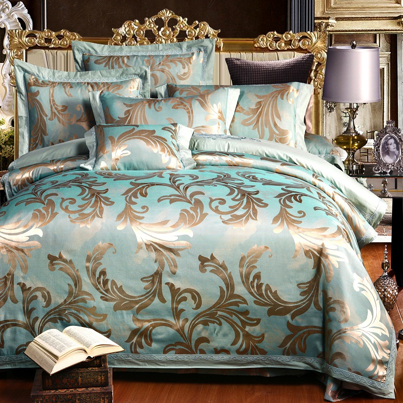 Luxury Satin Jacquard Bedding sets Bedclothes Queen King Size Bed set Silk Cotton Bed sheet Fit sheet Duvet cover Bed linen set