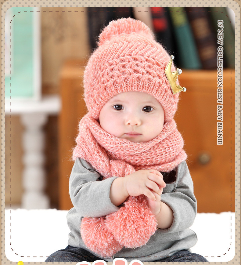 Winter Warm Baby Hat Scarf Set Baby Cap Cute Knitted Cotton Children's Hats for Girls Boys Kids Caps with Scarf For 1 to 4 Years