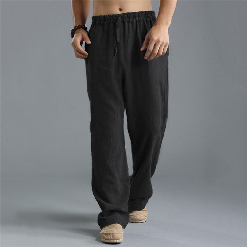 New Men Summer Fashion Trousers Linen Style Loose Casual Breathable Outdoor Solid Pants Sportswear Casual Straight Pants #4R06 (5)