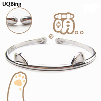 Fashion Beautiful 925 Sterling Silver Bangles Cat Cuff Bangles Bracelets Women Accessories Srebrna Bransoletka