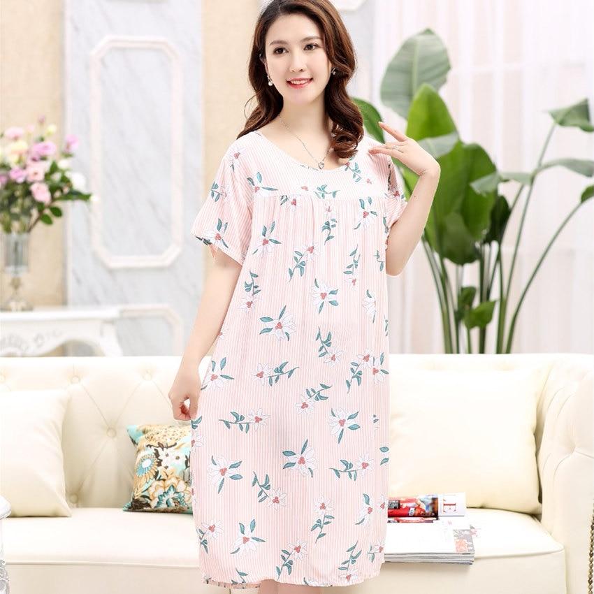 Brand Summer Short-Sleeved Women's Sleepshirts Floral Nightgowns Sleepwear Nightwear Lady Nightdress Shirt femme Plus size M-5XL