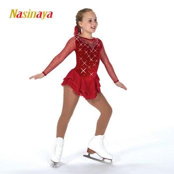 Nasinaya الشكل التزلج اللباس تخصيص المنافسة الجليد التزلج تنورة ل فتاة النساء الاطفال Patinaje الجمباز الأداء 260