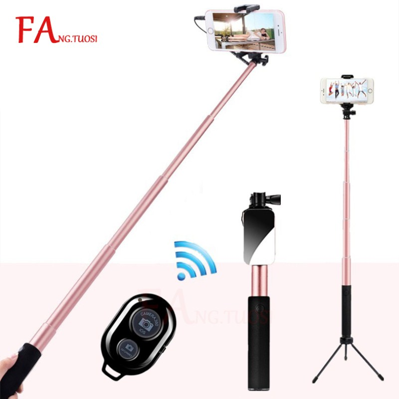 все цены на FANGTUOSI Handheld Tripod Wired Mini Selfie Stick Monopod for iPhone 6s 5 Samsung Huawei Xiaomi Bluetooth Remote Palo tripod онлайн