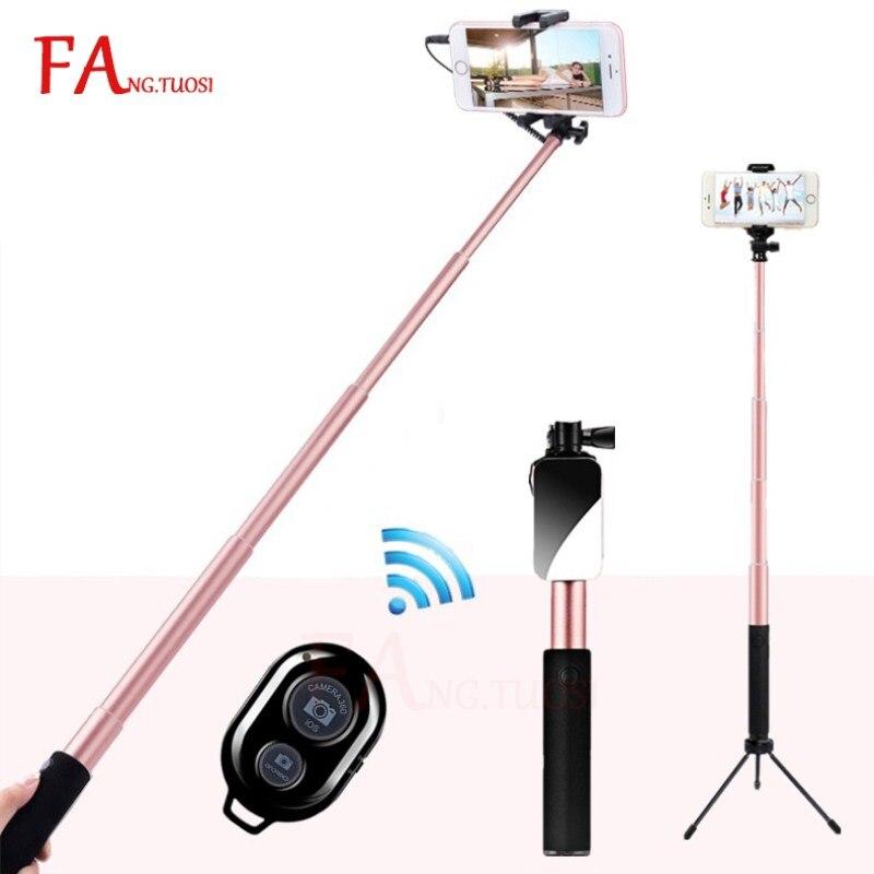 FANGTUOSI Handstativ Wired Mini Selfie Stick Einbeinstativ für iPhone 6 s 5 Samsung Huawei Xiaomi Bluetooth Remote Palo stativ