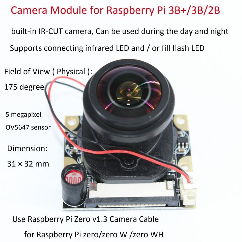 Raspberry Pi 3 B 5MP Camera Module IR-CUT 175 Degree Focal Adjustable Length Night Vision NoIR Camera Module For Raspberry Pi 3
