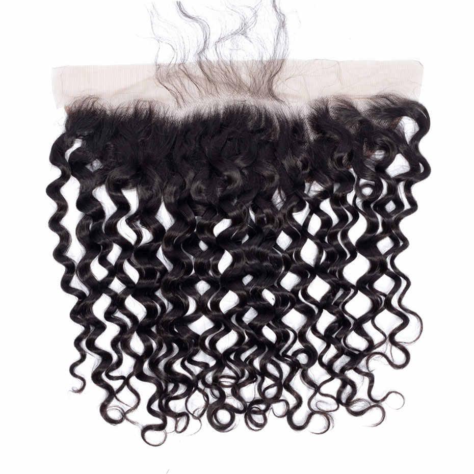Листок клевера 13X4 Кружева Фронтальная Закрытие пучки волос влажная волна плетение 13*4 Кружева Фронтальная с волосами младенца бразильские человеческие волосы не реми волосы