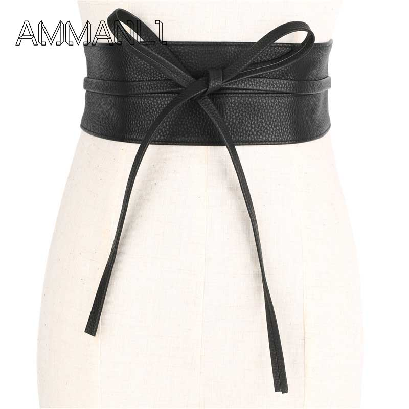 Confident Nibesser High Waist Women Shirts Dress Belts Lace Up Female Bow Strap Belts Pu Leather Designer Wide Women Wedding Dress Waist Apparel Accessories
