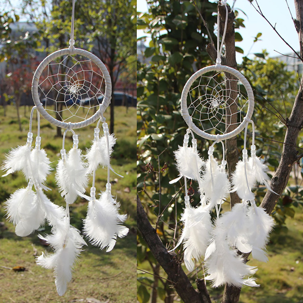 White craft feathers bulk - Originality White Feathers Pendant Dream Catcher Indian Style Dreamcatcher Wind Chimes Home Wall Hanging Decor Crafts Gift