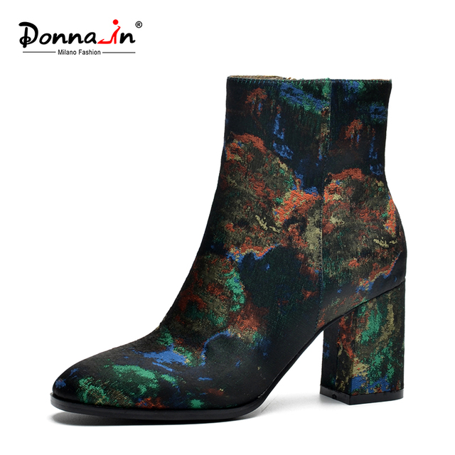 Donna-in 2019 New Women Ethnic Style Silk Embroider Women Winter Boots Thick High Heels Ankle Female Boots