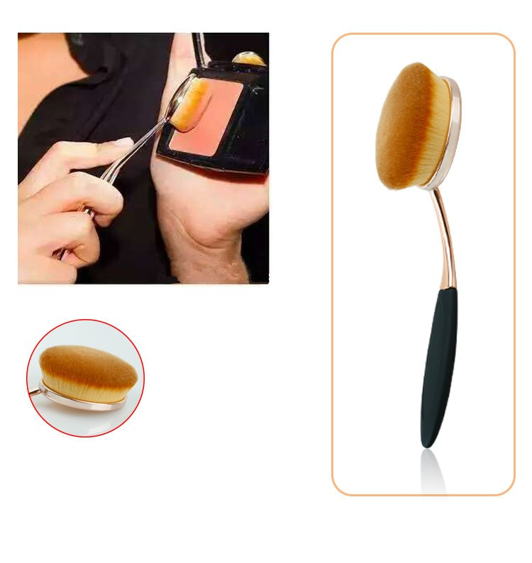 Toothbrush NEW Oval Shape Powder Foundation Makeup Brush Brushes Make up Eyebrow Beauty Tools Black Gold 10PCSset (3)