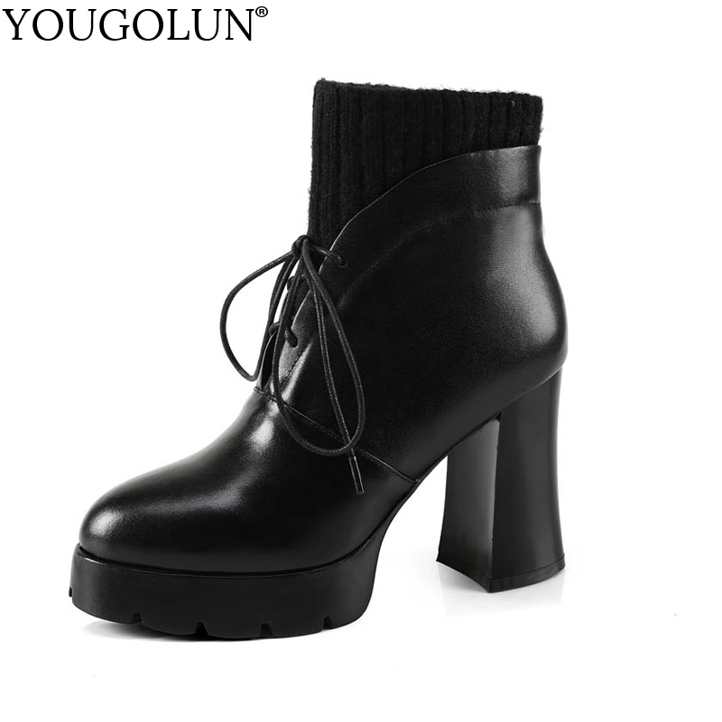 YOUGOLUN Women Ankle Boots Winter Genuine Leather High Heels 9.5 cm Black Lace up Square Heel Wool Platform Shoes #Y-159 чайник scarlett чайник scarlett sc ek14e04 white blue page 4