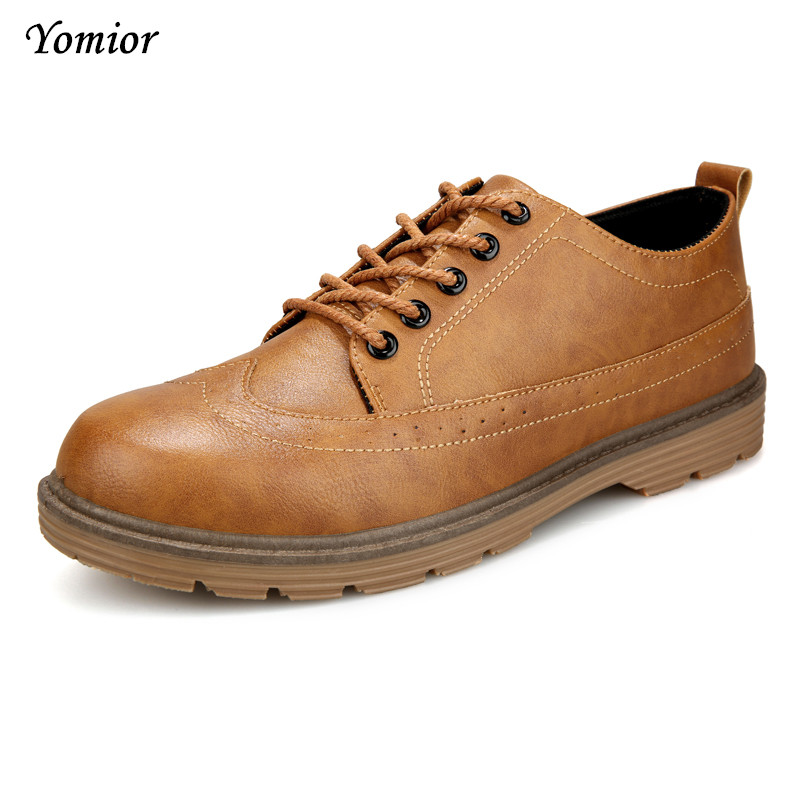 Yomior Autumn Fashion Men Casual Leather Shoes Gray Sapatos Lace-Up Men Shoes Outdoor Winter Masculinos Soft Breathable Shoes 2017 men shoes fashion genuine leather oxfords shoes men s flats lace up men dress shoes spring autumn hombre wedding sapatos