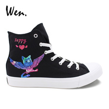 Wen Custom Vulcanize Shoes Anime Fairy Tail Happy Cat Hand Painted Canvas Sneakers Neutral Plimsolls High Top Espadrilles Flat