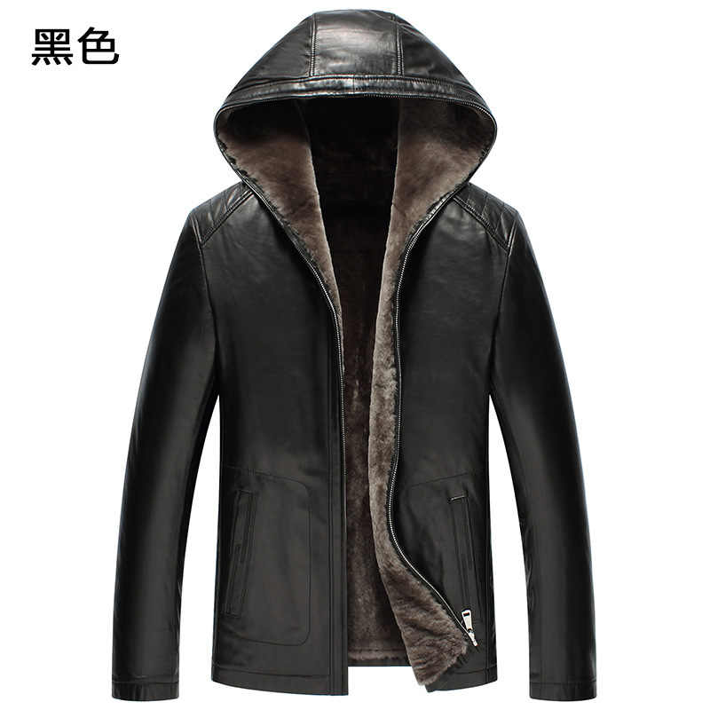 Genuine Leather Jacket Men Winter Jacket Natural Fur Real Sheepskin Coat for Men 100% Wool Liner Hooded Jackets F19S520 YY386