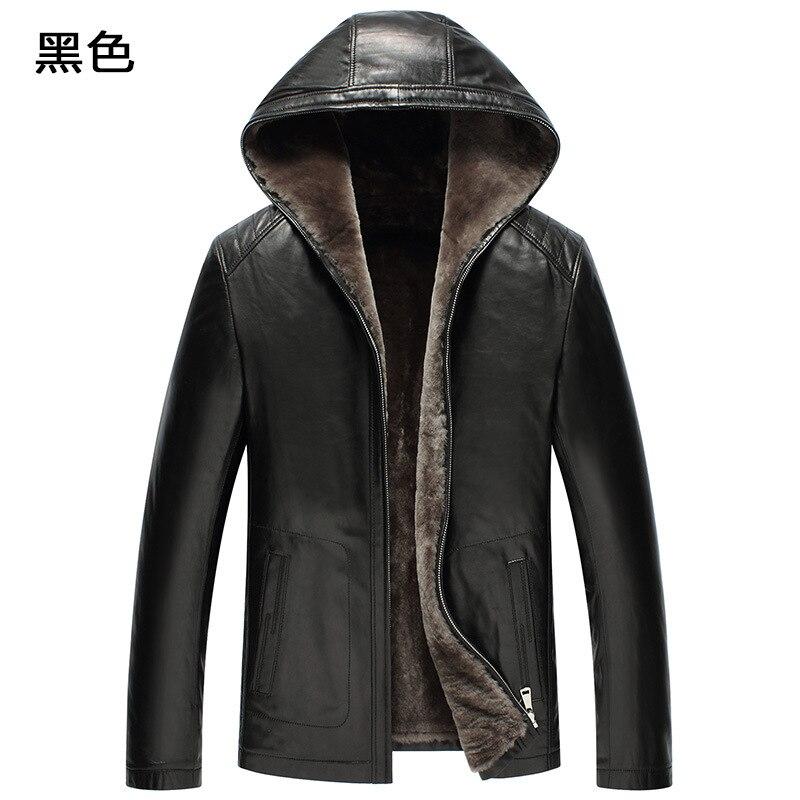 Genuine Leather Jacket Men Winter Jacket Natural Fur Real Sheepskin Coat For Men 100% Wool Liner Hooded Jackets F19S520 YY386