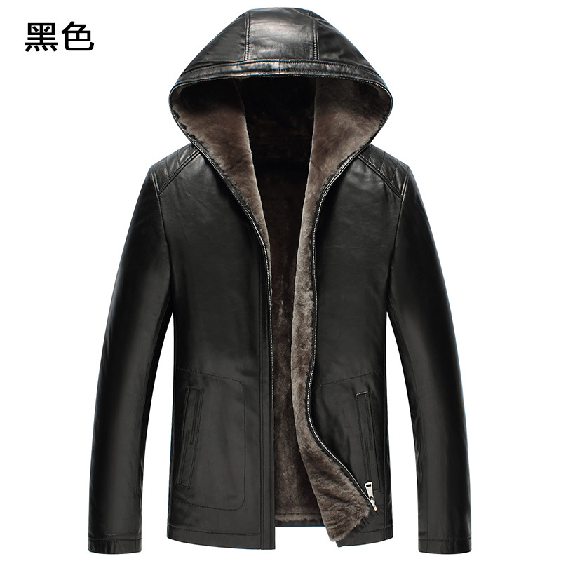 Veste en cuir véritable pour hommes veste d'hiver en fourrure naturelle véritable manteau en peau de mouton pour hommes 100% doublure en laine à capuche vestes F19S520 YY386