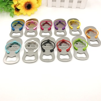 (50pcs/lot)FREE SHIPPING+Customizable Colorful Flip Flop Bottle Openers Metal Beer Opener Personalized Wedding Favors