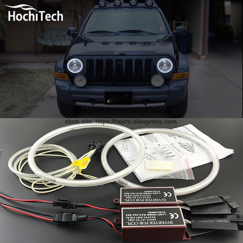 HochiTech Ccfl Angel Eyes Kit White 6000k Ccfl Halo Rings Headlight For Jeep Liberty KJ 2000 2001 2002 2003 2004 2005 2006 2007