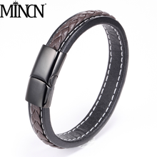 MINCN bracelet men leather braclets Men Jewelry Black/Brown Braided Leather Bracelet Stainless Steel jewelry