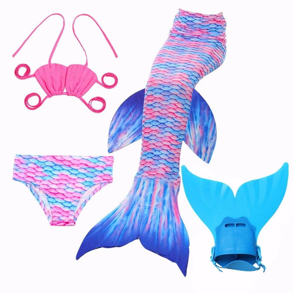 NEW Children Mermaid Tail with Monofin Kids Girls Costumes Swimming Mermaid Tail Mermaid Swimsuit Flipper for girls