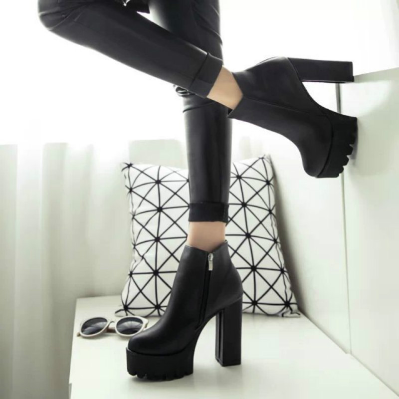 2016 Thick High Heels Black Ankle Boots For Women Sexy Winter Shoes martin chelsea low price calzado mujer comfortable