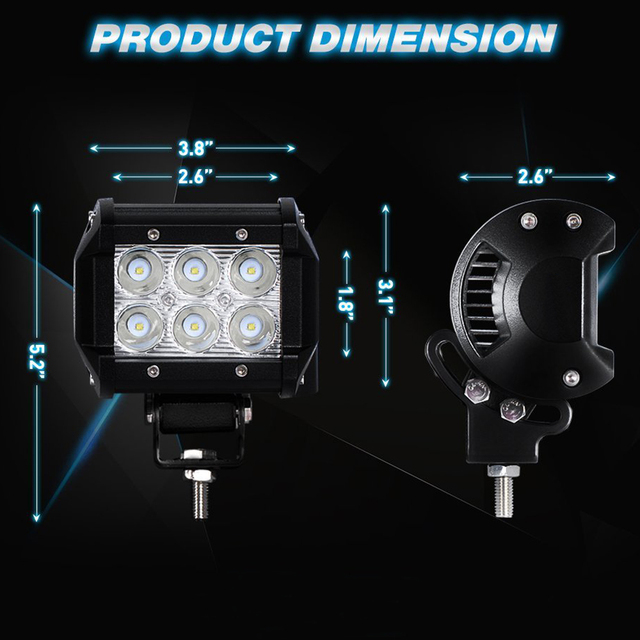 castaleca Car LED Work Light Offroad Spot Driving Fog Light Mounting Bracket for Motorcycle Tractor Truck Driving Offroad