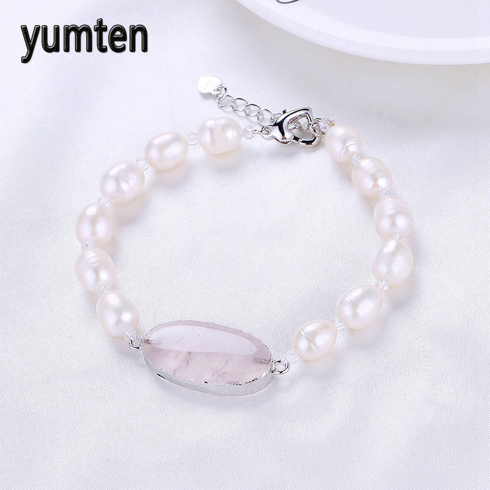 Yumten Pearl Jewlery Bracelets For Women Men Natural Freshwater Pearls Bracelet Trendy Diy Rose Quartz Pendant Bracelets Jewelry