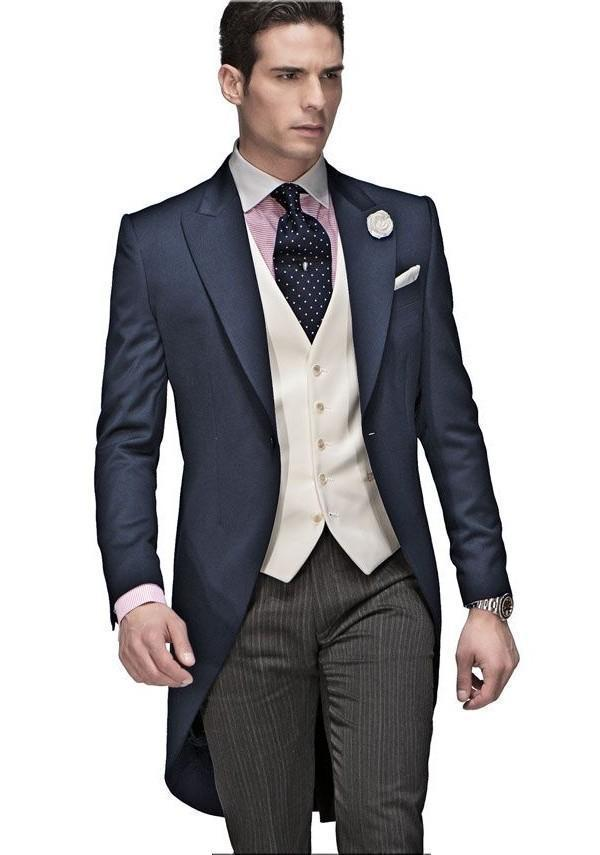 New Arrival Navy Blue Wedding Suits For Men Peaked Lapel