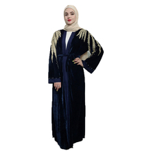 Arab Velvet Abaya Muslim Womens Shoulder Embroidery Kaftan Cardigan Dresses Qatar Oman Turkey Clothing without Scarf
