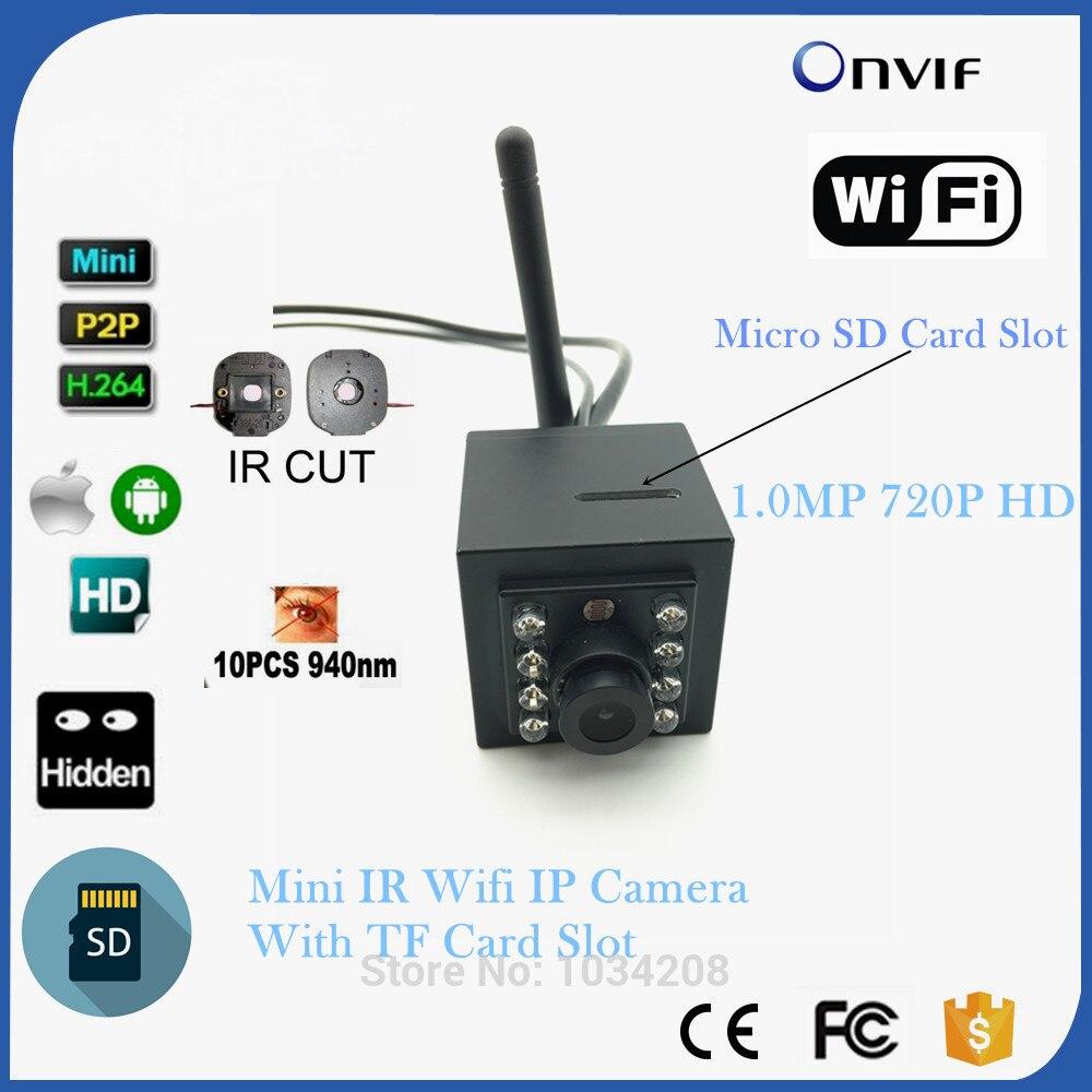 1MP 720 P Крытый 940nm Invisable ИК светодиодов WI FI Беспроводной Ip камера; sd карта видео Surviallance P2P Onvif HD мини Ip камера WI FI IR CUT