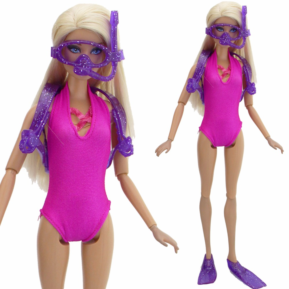 2 Pcs/Lot = 1x Diving Equipment Plastic Oxygen Tank Glasses Feets + 1x Rose Red Swimsuit Clothes For Barbie Doll Accessories Toy ...