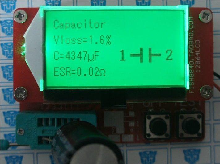 Petit 12864 LCD Transistor Testeur Capacité ESR Mètre Diode Triode MOS LCR NPN