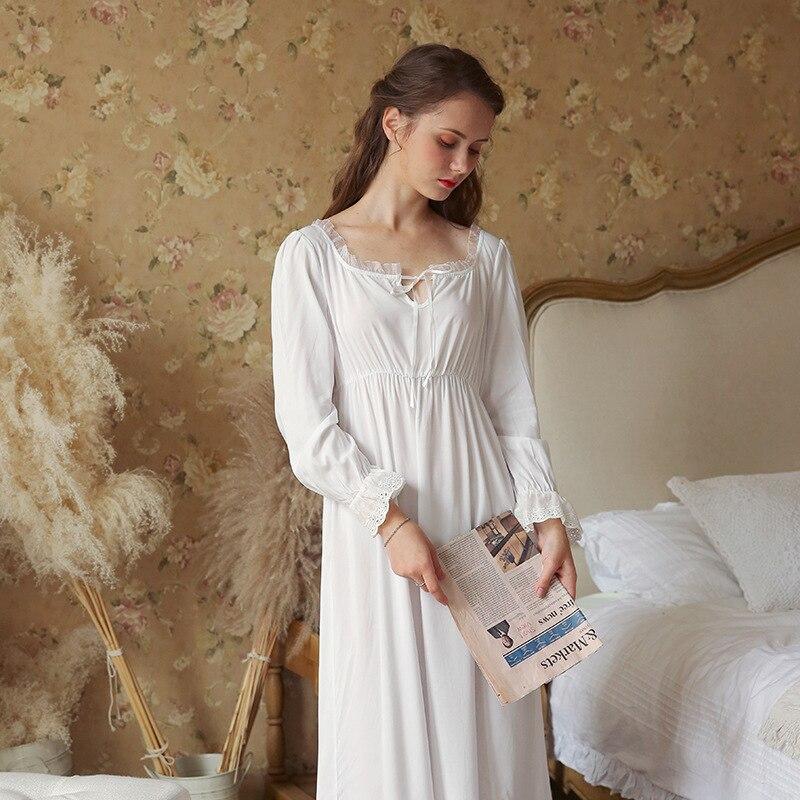 4eb2c6692 Nova primavera Pijama de Algodão Longo-Sleeved Women S Bonita Romântica  Fresco Camisola de Renda Rendas