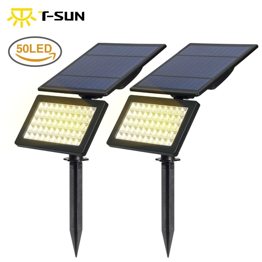 T-SUN 2 PACK Solar garden led light Outdoor waterproof Modes Wall Lights Adjustable Security Lighting for Yard Garden