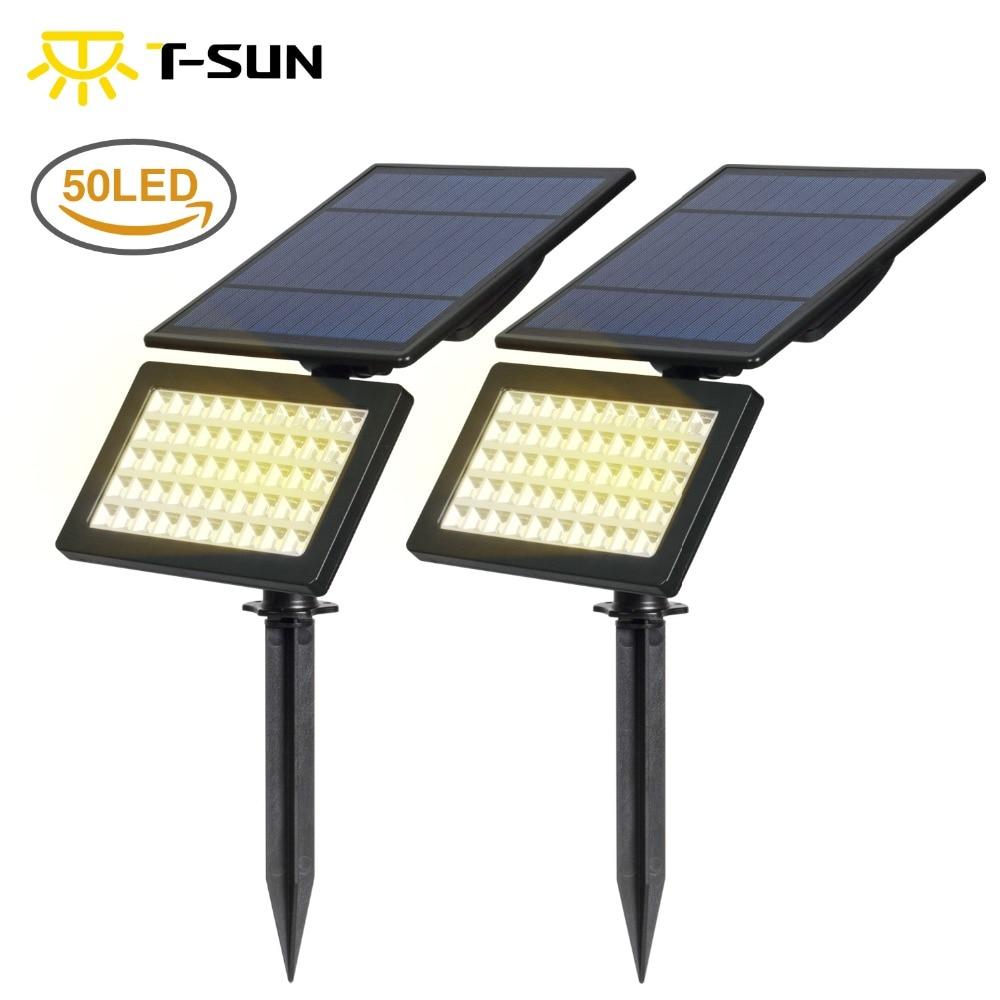 T-SUN 2 PACK Solar Garden Led Light Outdoor Waterproof 2 Modes Solar Wall Lights Adjustable Security Lighting For Yard Garden