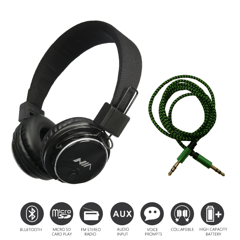 Economic Set: Original NIA Q8 + AUX Cable a Set Stereo bluetooth headphone sport Foldable Headsets economic set original nia 8809s 8 gb micro sd card a set wireless headphone sport for tv with fm