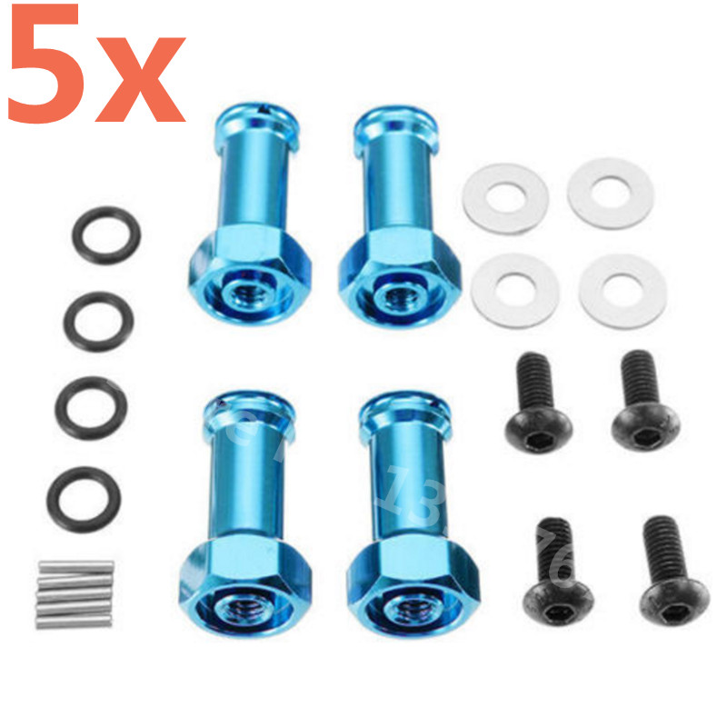 5 Sets RC Car WLtoys A949 A969 A979 Upgrade Part Aluminum Alloy 12MM Hex Drive 24MM Extension Adapter For RC 1/18 Scale Models