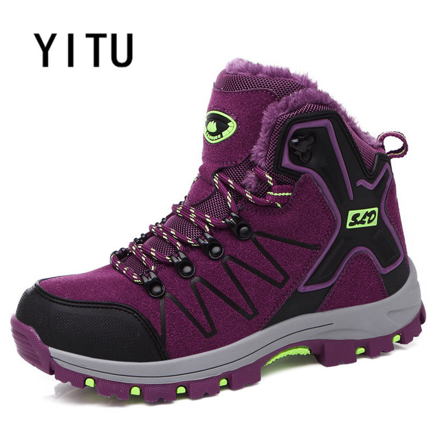 YITU 2017 New Arrival Outdoor Hiking Shoes High Top Winter Warm Trekking Tactical Sneakers Anti-skid Breathable Light Footwears