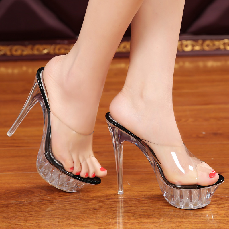 c7a2629377f5 Free shipping 14cm crystal shoes transparent sandals big size sexy high-heeled  sandals high-