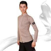 Latin Dance Top Male Chest Pleating Long Sleeve Samba Tango Cha Cha Dancing Clothes Latin Mens Shirt Practice Dancewear DNV10805