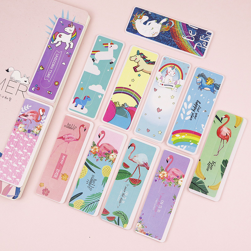 6pcs Cute Cartoon Unicorn Flamingo Bookmark Animals Book Markers Paper Clip For Kids Gift Korean School Stationery Supplies