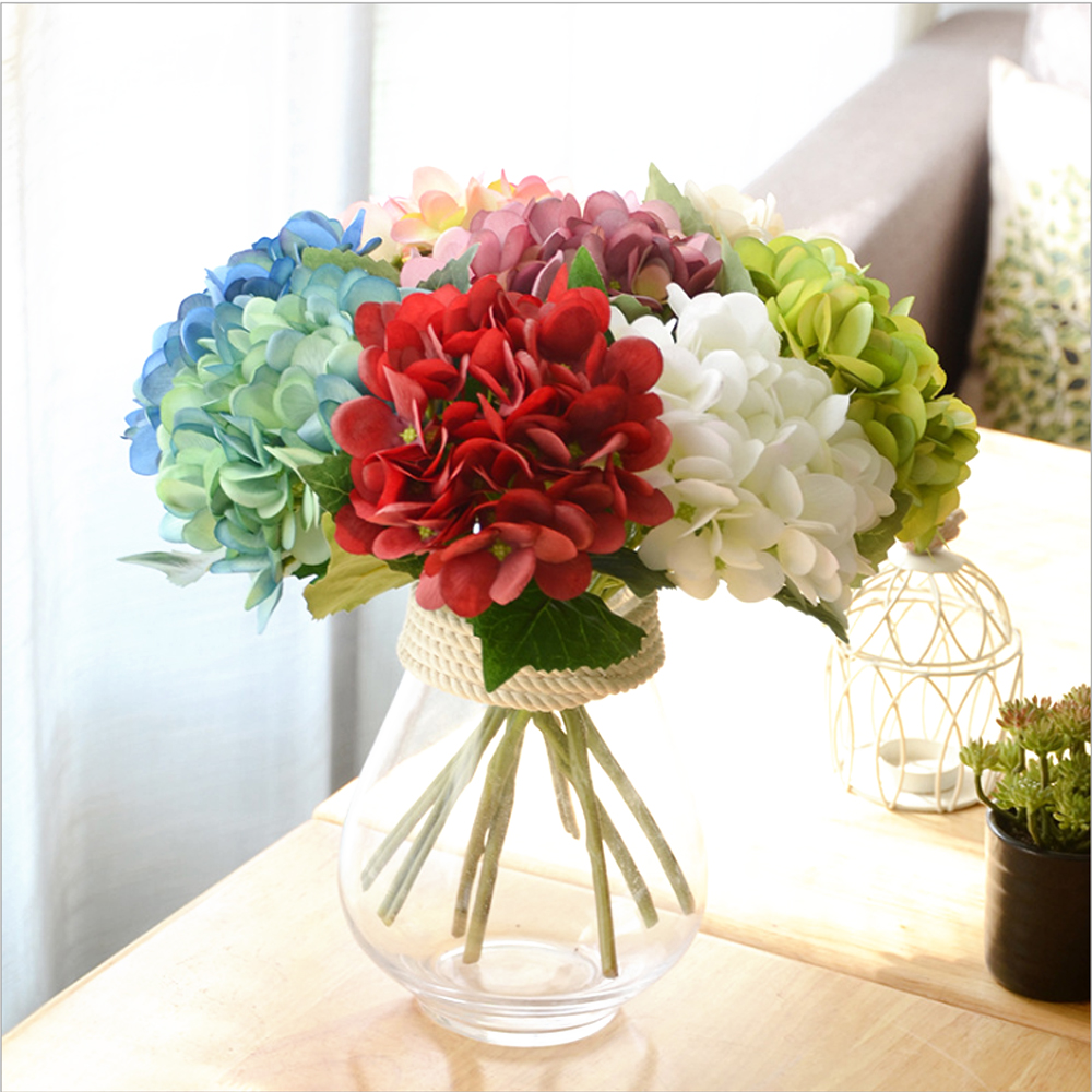 Artificial Hydrangea Silk Flower Diy Decorative Flower Bouquet For