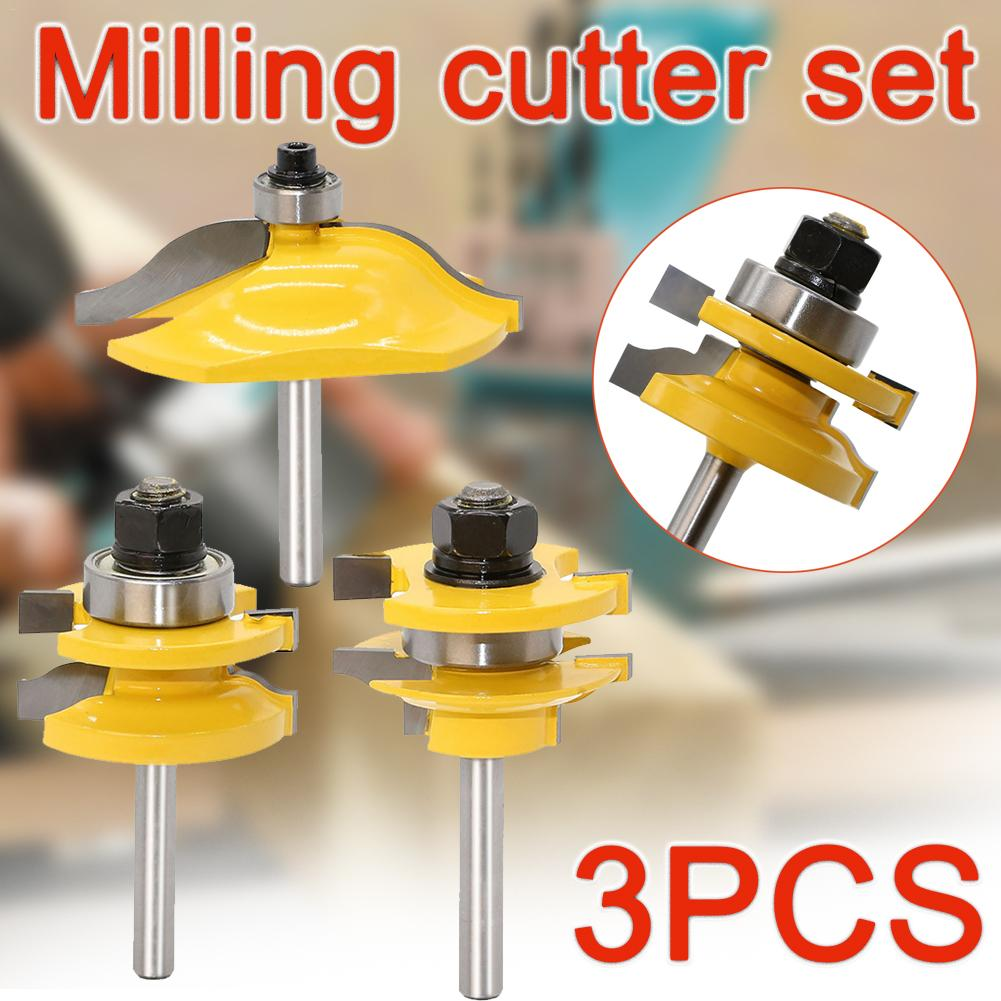 3pcs 1/4 Shank High-Grade Wood Tenon Router Bit Trimming Door Cupboard Frame Milling Cutters Woodworking Drill Bit Tools Set