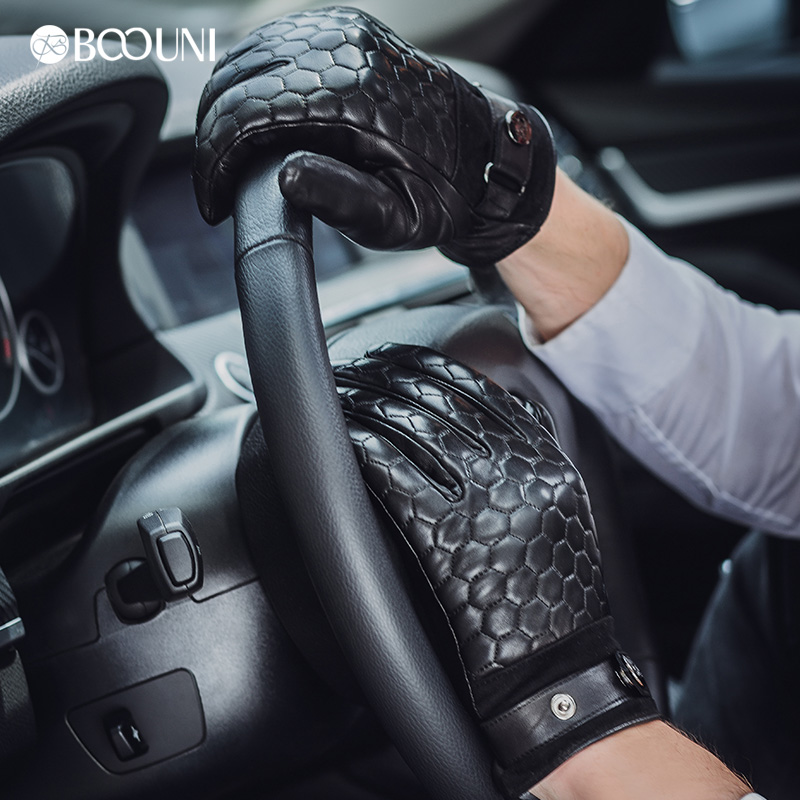 Image 4 - BOOUNI Genuine Leather Men Gloves Fashion Plaid Black Business Sheepskin Driving Glove Winter Thicken Warm Five Finger NM764-in Men's Gloves from Apparel Accessories