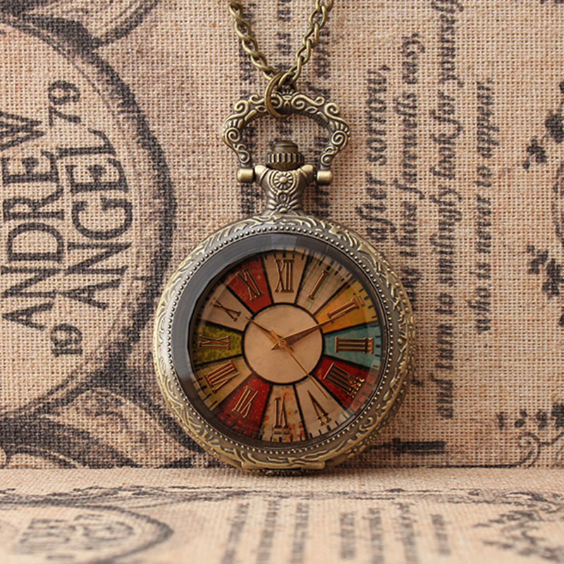 Classic make the old flip cover table colorful pattern alloy round pocket watch necklace elderly antique table holiday gift european and american movies aladdin and the magic lamp quartz pocket watch do the old flip quartz watch chain table ds274