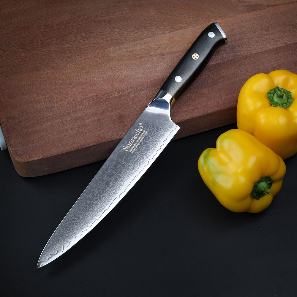 2017 Premium SUNNECKO 8 inch Chef's Kitchen Knife Japanese VG10 Steel Core Blade G10 Handle with Stainless Steel Damascus Cut