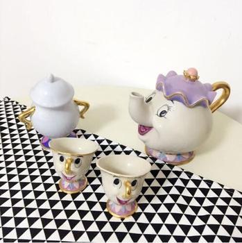 만화 아름다움과 야수 부인 potts 차 세트 [1 pot + 2 cups + 1 sugar pot] 컵 머그잔 멋진 크리스마스 선물 무료 배송
