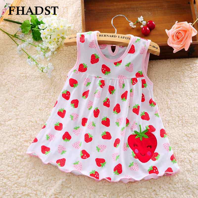Fhadst Cute Baby Girl Dress Cotton Regular Dot Sleeveless A Line Dresses Floral Appliques Casual Clothing Princess 3 12 Months-In Dresses From -4621