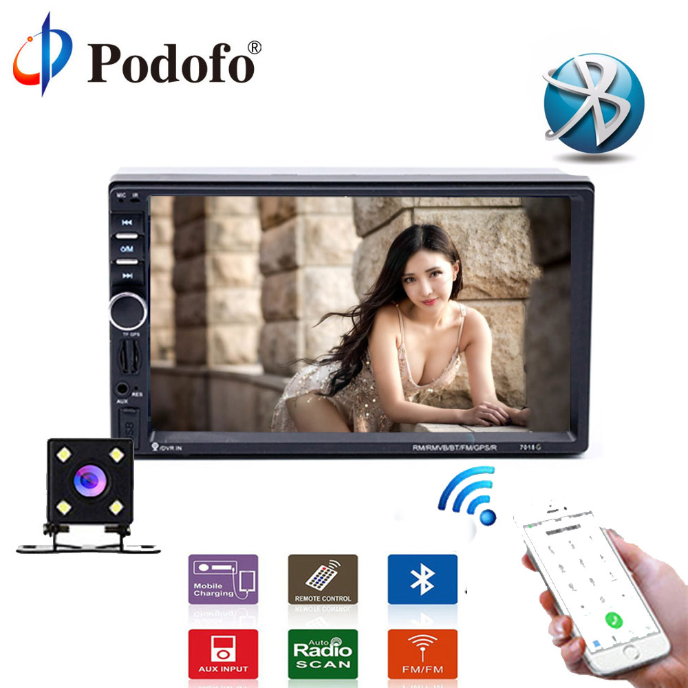 Podofo Universal 7 MP5 Player Touch Multimedia Player Audio Stereo 2din Car DVD Radio GPS Bluetooth FM Support Rear View Camera 2din 7inch car bluetooth mp5 player reversing rear view camera function car radio gps navigation car radio media player rk 7157g